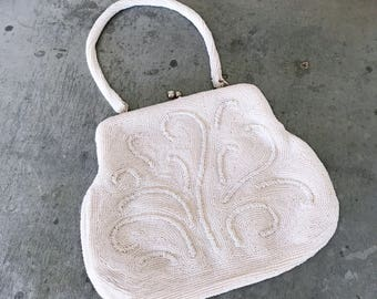 Hand beaded art deco purse, vintage bridal purse, vintage wedding purse, bridal bag, cream, ivory, vintage beaded purse, designer beaded bag