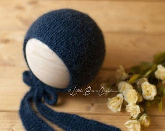 Navy Bonnet with Knit Ties, Newborn Bonnet