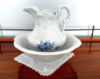 Large Wash Basin & Pitcher White with Blue Flowers - Marking Unknown