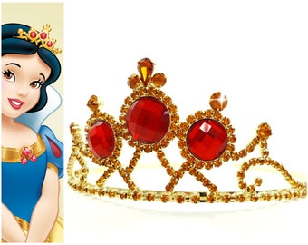 Snow White Tiara, Snow White Crown ,Princess Snow White Gold & Red Tiara, Snow White Rhinestone Tiara
