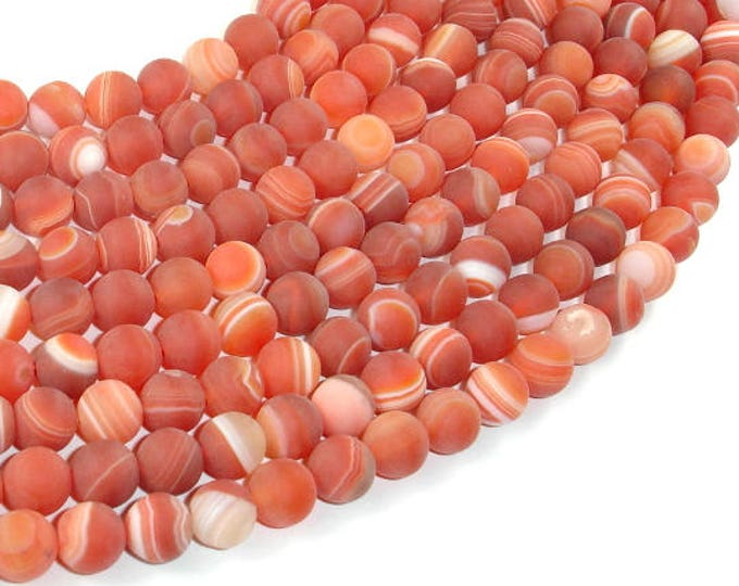 Matte Banded Agate Beads, Red & Orange, 8 mm Round Beads, 15 Inch, Full strand, Approx 48 beads, Hole 1mm (132054048)