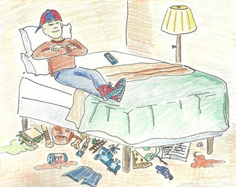 A boy with a messy room illustration- digital download