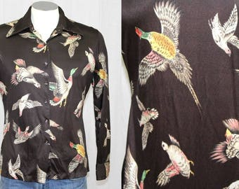 Vintage 70s Mens Brown Nylon Bird Pheasant Duck Retro Disco Hipster Shirt S