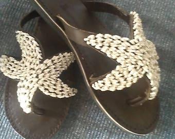 Starry, Starry Night - Handmade Real Leather Beaded Kenyan Sandals, Thongs, Flip flops, Slides, Slippers