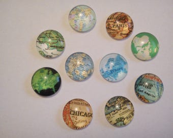 Lot 10 cabochons 11 mm world maps