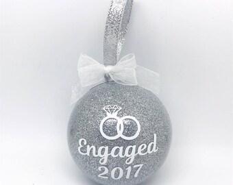 Personalised Engagement Bauble Tree Decoration