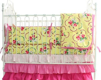 Crib Bedding Set: Emma's Yellow and Pink Floral