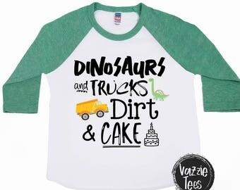 Dinosaur Shirts - Dinosaur Birthday Shirt - Dinosaurs Trucks Mud Dirt and Cake - Birthday Shirts - Dino Shirts - Birthday Boy Shirt