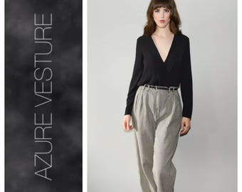 """80s 90s High Rise Pants. 1980s 1990s High Waisted, Pleated, Tapered, Minimalist, Houndstooth Trousers. Size 28"""""""