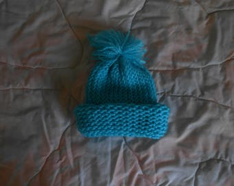 Hand knit Blue Baby Hat