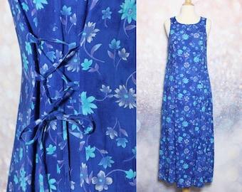 90s Blue Floral Dress Sleeveless Dress Long Dress Full Length Dress Hipster Dress Hippie Dress Boho Dress Grunge Dress Blue Dress Size M
