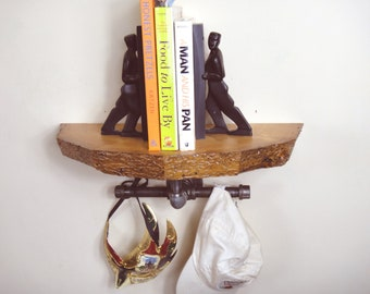 Natural Edge Shelf, Reclaimed Wood Shelf, Half Round Shelf, console table, Entryway Shelf, Coat Rack Shelf., Hat Rack Shelf, Rustic Shelf