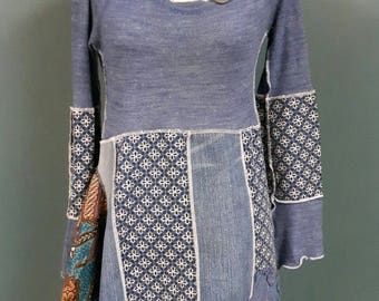 2017-070 - eco friendly boho gypsy long sleeve dress with jean accents - size m