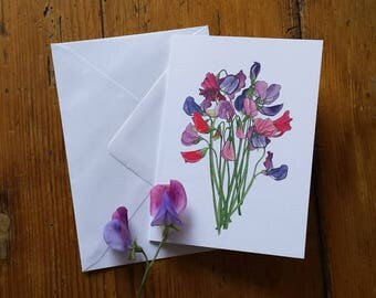 Sweet Peas Mother's Day card by Alice Draws The Line featuring illustrations of a sweet pea bouquet - blank inside; plain or Happy Birthday!