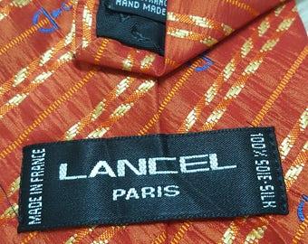 Buy 2 get 2 free, 1990s Lancel Red Necktie, Lancel, Red Orange Necktie, Necktie, Tie, Silk Necktie