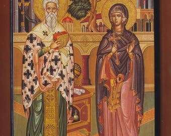 St. Cyprian and St. Justina.Christian orthodox icon. FREE SHIPPING