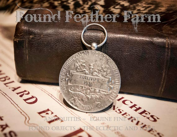 Beautiful French Silver Medallion of Honor 1936
