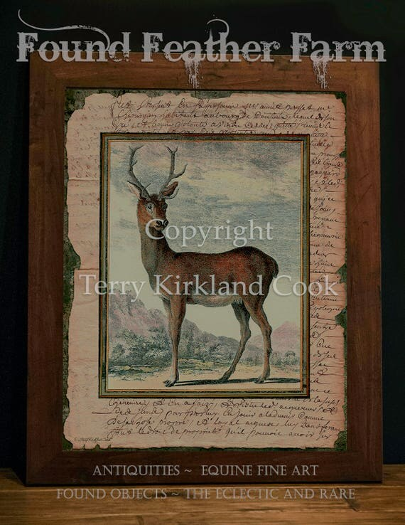 """The Red Stag ~ Original Vintage Art Collage 20"""" x 24"""" Framed Giclee Print"""