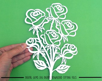 Rose bouquet paper cut svg / dxf / eps files and pdf / png printable templates for hand cutting. Digital download.