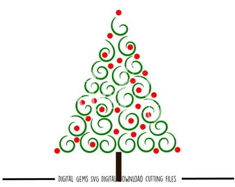 Swirly Christmas tree svg / dxf / eps / png files. Digital download. Compatible with Cricut and Silhouette machines. Small commercial use ok