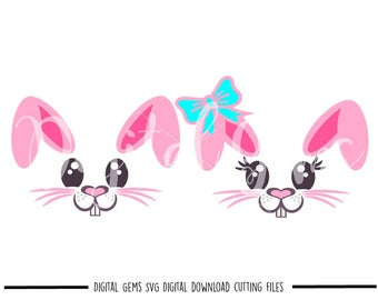 Bunny Rabbit Faces Easter svg / dxf / eps / png files. The files work well with Silhouette and Cricut. Digital Download. Commercial use ok.