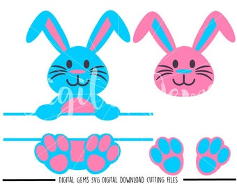 Split Rabbit, Rabbit Face and Feet Easter svg / dxf / eps / png files. Digital download. Compatible with Cricut and Silhouette machines.