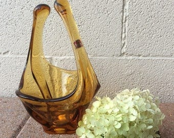 "Vintage Viking Glass Amber Gold Art Glass Split Handle Decorative Centerpiece Candy 11"" Original Sticker Dish"