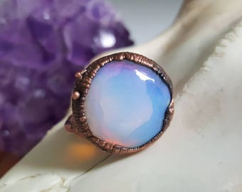 Opalite ring, crystal opal electroformed custom size copper women's ring