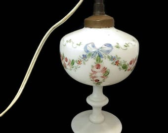antique french opaline lamp, milk glass lamp, bristol glass lamp