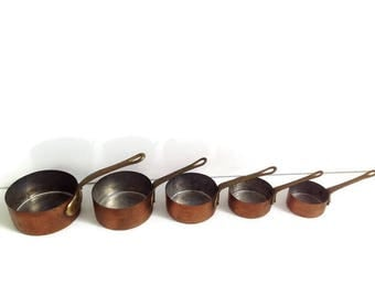 set of 5 small french copper saucepans