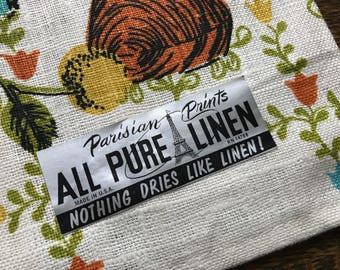 Pure Linen Kitchen Towel by Parisian Prints~1970's Motif~NOS/Unused~Paper Foil Label~Pristine~Retro Decor & Color~Rusts Aqua~Vintage Linens