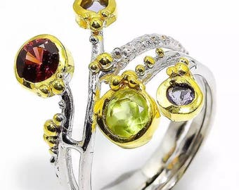 Sterling and gold peridot