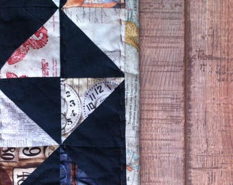 patchwork quilt bedspread throw man quilt handquilted black and Tim Holtz triangles