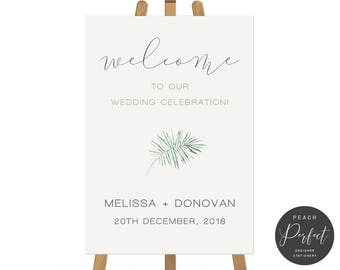 Printable Wedding Welcome Sign, Fern Tropical Leaf Design, Free Font Colour Changes, Digital, Rustic, Wedding Poster, Leafy Love Suite