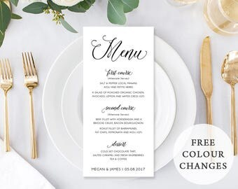 Wedding Menu, Printable Menu, Rustic Wedding, Print On White or Kraft, DIY, Print Your Own, Digital, Free Colour Changes, Lovely Romance