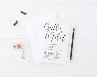 Printable or Professionally Printed Wedding Invitation, Modern Invite, Free Colour Changes, Digital Invite, Cynthia Suite