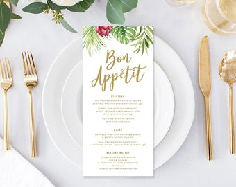Wedding Menu, Custom Printable Menu, Tropical Wedding, Free Text Colour Changes, DIY Wedding, Print Your Own, Chelsea Suite