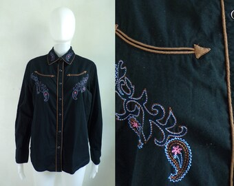 35%offJuly17-20 90s western shirt size medium/large, snap button cowgirl shirt paisley embroidered button down womens top rodeo shirt