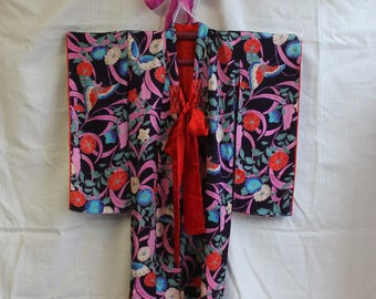 Midnight Butterfly silk childs kimono