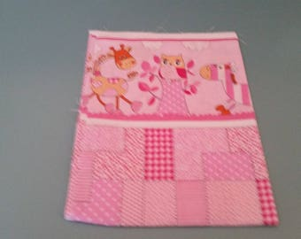 owls on pink patterned cotton fabric