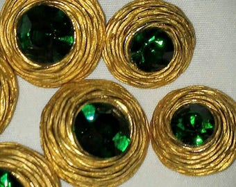 Vintage Gold Nest Buttons with Emerald Green Rhinestones 6 pc
