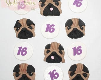 Pug Puppies & Age Edible Cupcake Toppers