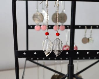 Leaf & Pearl dangling earrings