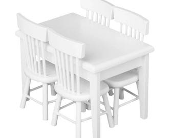 1:12 Miniature Dollhouse Furniture - White Wooden Dinning Table with 4 Chairs for Dollhouses, Nendoroids, Obitsu 11 - FREE SHIPPING