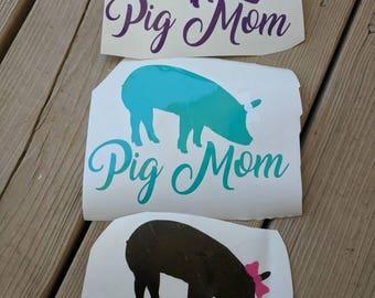 Pig mom car decal, pig mom sticker, pig mom decal