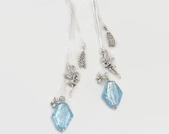 BO long magical light blue Murano glass and charms - jewelry handmade By MP Bertrand 123Pierres