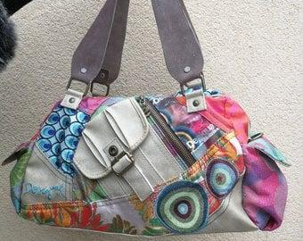 Desigual Handbag/Desigual Summer Bag/Colorful Fabric and gray Leather Handbag/Floral Print/Pockets Rivets Zipper /Lining