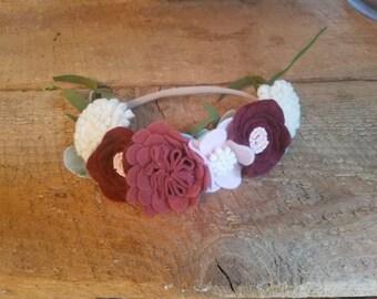 Shabby chic felt floral headband