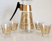 Vintage Mid Century Modern Gold Striped Drink Pitcher With 4 Glasses