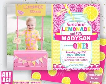 Pink Lemonade Stand Birthday Invitation, Lemonade Birthday, Mason Jar Invite, Pink Lemonade Printable Invite, DIY Printable invite BDL2